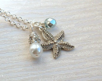 Starfish Necklace, Set Of 3 Necklaces, Bridesmaid Gift Jewelry, Beach Weddings, Flower Girl Gift, 3 Starfish Necklaces, Wedding Jewelry