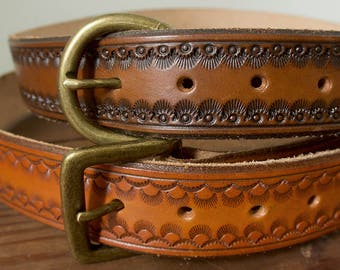 Stamped/Tooled Custom Leather Belt