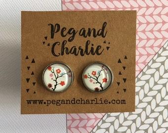 Stud Earrings Glass Cabochon - Cherry Blossom
