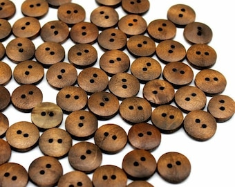 Dark Brown Wood Buttons Four Holes Raised Edge Tiny Small Round Shape 10mm 50pcs