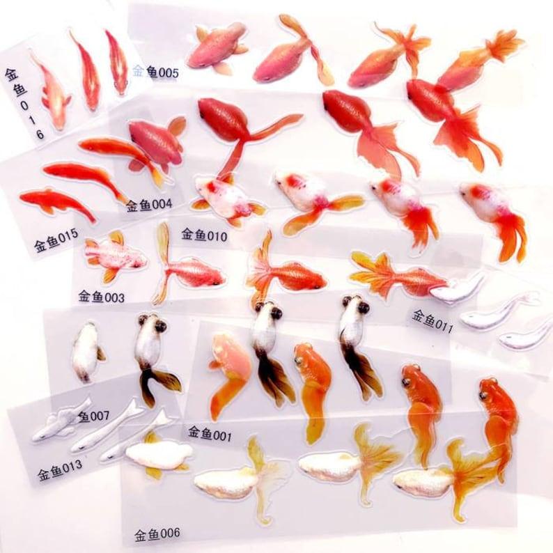 60eca9e28629 8 Sheets Gold Fish 3D Goldfish Clear Film Sticker for Resin