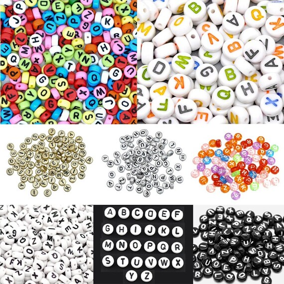 500pcs 7mm gold flat round alphabets letters acrylic beads mixed letters