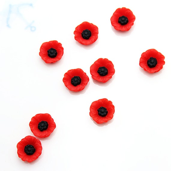 12 POPPY CABOCHONS-12MM-RESIN FLATBACK CABOCHON-DECODEN-RED POPPIES-FLOWERS
