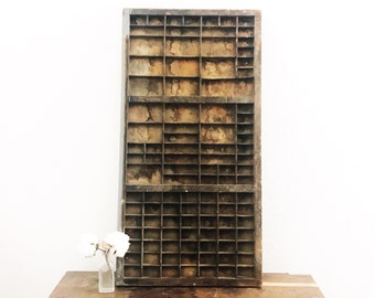Vintage Letterpress Printer's Drawer / Rustic Industrial Farmhouse Decor / Wood Drawer Display / Cubby Shelf / Collection Display
