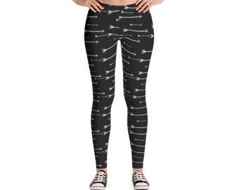 Arrow Leggings / Women's Leggings / Spandex Leggings / Yoga Leggings / Black and White / Black Leggings / Farmhouse Lifestyle