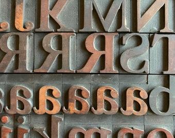 1 5/8 Inch Caslon Vintage Letterpress Letters, Uppercase And Lowercase Alphabet, Numbers & Punctuation, Antique Wood Decor