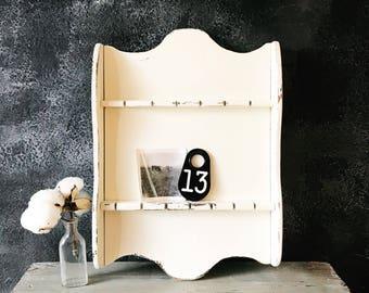 Farmhouse Shelf / Jewelry Display / Shabby Chic Decor / Scarf Display / Handkerchief Display / Farmhouse Decor / Upcycled Rack