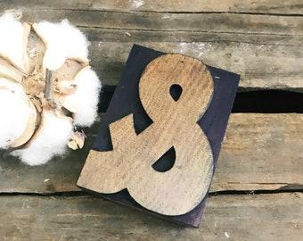Large Ampersand Letterpress Wood Type Block / Vintage Letterpress / Letterpress Punctuation / Wedding Decor / Farmhouse Decor