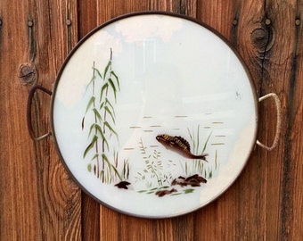 Vintage Fish Painting on Rustic Metal Tray / Nature Painting / Fishing Art / Circle Tray Art Covered in Glass / Cabin Art / Fisherman Gift