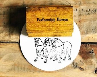 Vintage Horse Stamp / Horse Stamp / Performing Horses Stamp / Wood Horse Stamp / Rubber Stamp / Old Wood Stamp / Vintage Wood Stamp