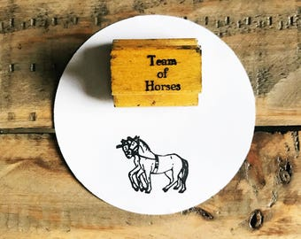 Vintage Horse Stamp / Horse Stamp / Team Of Horses Stamp / Wood Horse Stamp / Rubber Stamp / Old Wood Stamp / Vintage Wood Stamp