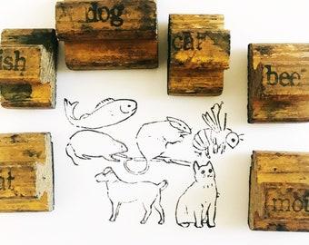 Vintage Animal Stamp Set / Old Wooden Stamps / Vintage Wood Stamps / Cat Dog Fish Bee Rat Mouse / Gift For Animal Pet Lover