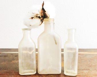 Three Vintage Bottles / Old Bottles / Apothecary Bottles / Farmhouse Decor / Vintage Decor / 3ii Bottle / 2 Oz Bottle / Brockury Bottle