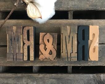 Mr & Mrs Vintage Letterpress Set / Rustic Farmhouse Wedding / Wood Letterpress Type / Vintage Wood Wedding Decor / Mr And Mrs