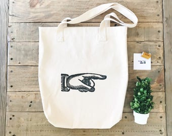 Finger Pointer Bag / Cotton Tote Bag / Tote Bags / Market Bags / Farmhouse Style / Grocery Tote / Vintage Style / Vintage Manicule