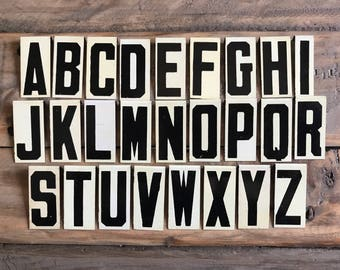 Vintage Sign Letters / Vintage Unitype / Vintage Alphabet / Metal Sign Letters / Black And White / Church Bulletin Board / Vintage Numbers