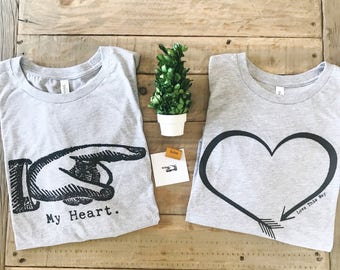 My Heart Tshirt / Couples Tee / Couples T Shirt / Finger Pointer Tee / Mother Daughter / Matching Family Tees / Love This Way / Cotton Tee
