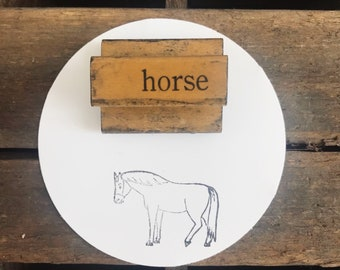 Vintage Wooden Horse Stamp For Horse Lovers / Horse Decor / Wood Horse Decor / Old Wood Handled Stamp / Farmhouse Decor