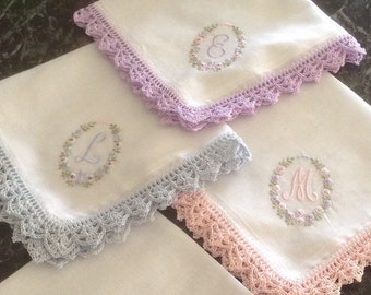 Embroidered  monogrammed handkerchiefs  great for bridesmaids, weddings ,and brides with matching crochet edges