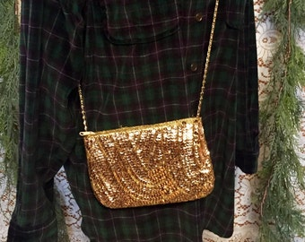 Gold Sequin Evening Bag Purse Sparkly Mini Small Purse Crossbody Chain Going Out Bag Handbag