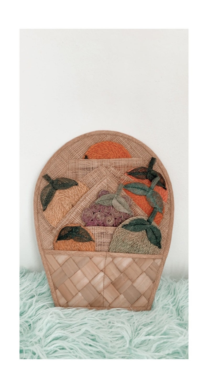 Woven Raffia Drink Coasters Fruit Shaped with Holder