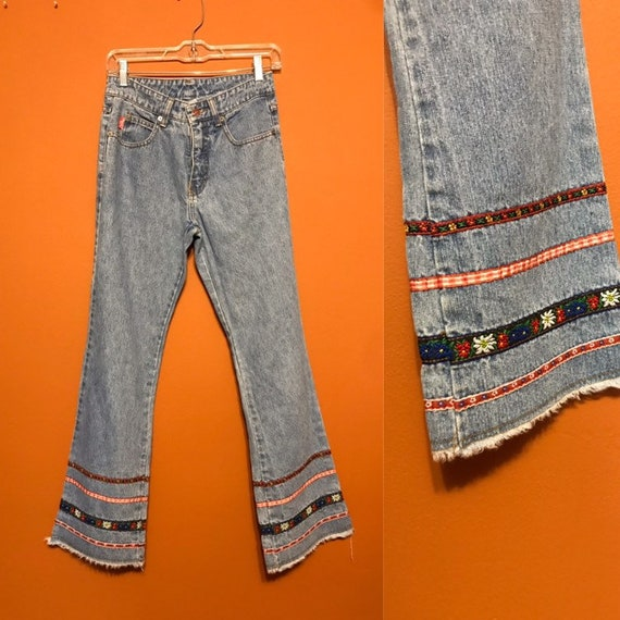 Flower Power Flare Embroidered Jeans High Waisted