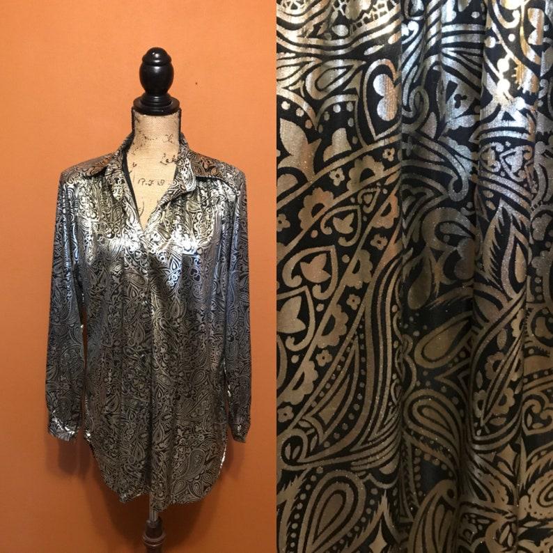 Metallic Paisley Vintage Blouse Groovy Seventies Eighties Flashy Top Button  Up Top Date Night Girls Night Gold Metallic Long Sleeve Top