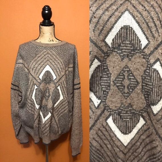 Diamond Burst Print Oversized Sweater Comfy Cabin