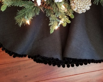 christmas tree skirt large black pom pom holiday tree skirt new years decor halloween decor farmhouse christmasfrench country