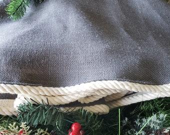 christmas tree skirt small burlap grey modern farmhouse industrial lodge decor coastal tree skirt - Christmas Tree Skirts Etsy