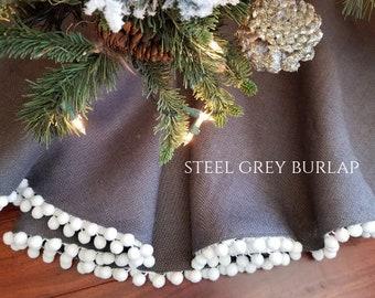 christmas tree skirt medium steel gray burlap pom pom tree skirt modern industrial farmhouse holiday skirts - Christmas Tree Skirts Etsy