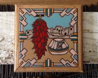 Fiesta Tiles Framed Ceramic Tile, Trivet, Wall Hanging, Phoenix Arizona, Southwestern Pueblo Dimensional Decorative Art Tile, 1983