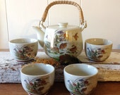 Japanese Satsuma Teapot And Cups Set, Quail, Birds, Gilded, Stamped, Bamboo Handle, Crackle Glaze Tea Pot, 4 Cups, Japan