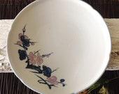 Japanese Imari Cherry Blossom Platter, Hand Painted Pale Blue, Lavender Ribbed Ruffle Edge Large Pottery Pedestal Plate, Signed, Japan
