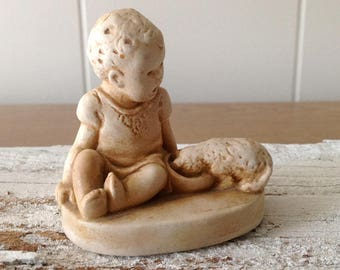 Vintage Catherine McCullough Baby Figurine, Dog, Possibly Soapstone, Small Collectible Sepia Tone Child, Puppy Knick Knack