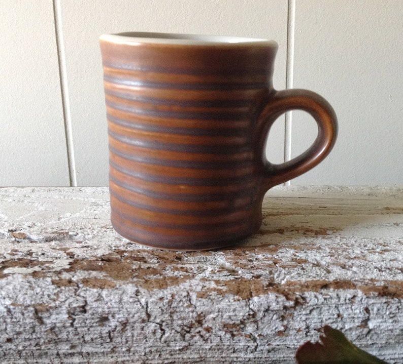0eef0051084 Vintage Hall China Rustic Brown Pottery Mug, Diner China, Restaurant Ware  Primitive Wheel Thrown Coffee Cup