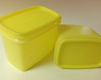 2 Vintage Yellow Tupperware Square Storage Containers, Lids, Airtight Tupperware Containers, Set Of 2