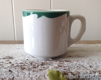 Vintage Shenango China Small Diner Mug, RimRol Wel Roc White With Green Rim, Heavy Restaurant Ware Coffee Mug, Scalloped Handle