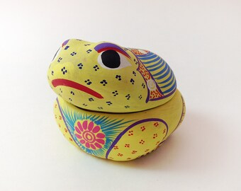 Mexican Hand Painted Pottery Frog Trinket Box, Bright Yellow, Folk Art Froggy Jewelry Box, Made In Mexico