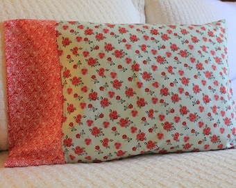 Travel Pillowcase - Cotton Mint and Red Roses Pattern
