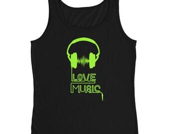 Bright Green Love Music  Ladies' Tank