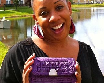 Purple Hand knit Plastic Canvas Clutch Purse