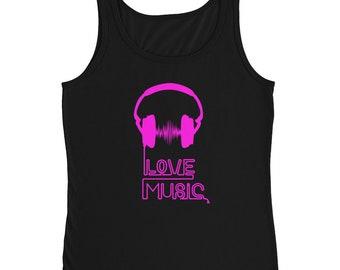 Bright Pink Love Music Ladies' Tank