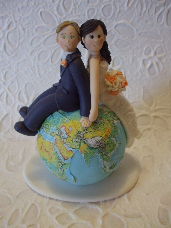 custom wedding cake toppers etsy items similar to custom and groom travel wedding 13253