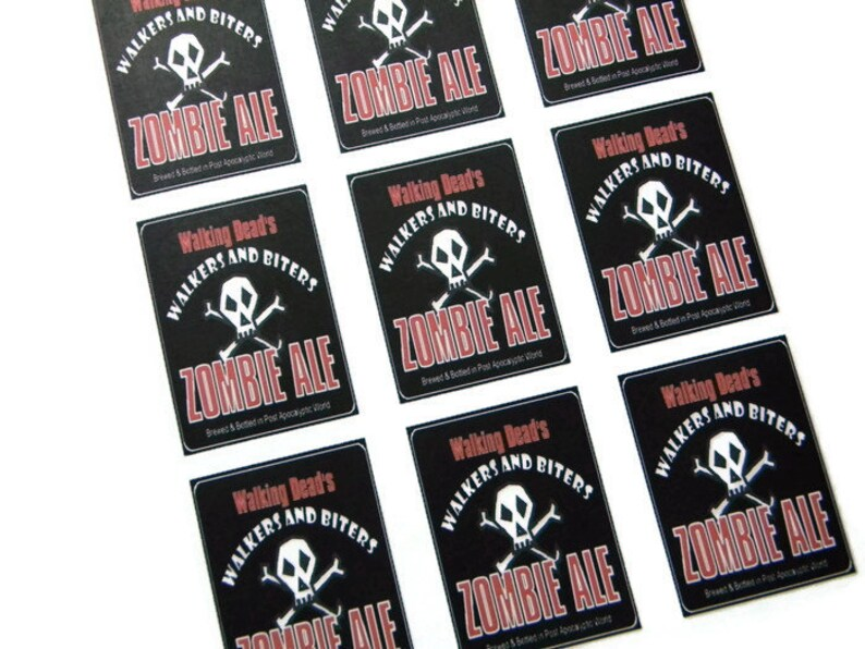 Walking Dead Zombie Ale adhesive Beer Labels Sheet of 9 image 0