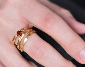 Sterling silver red garnet wire ring - gold plated