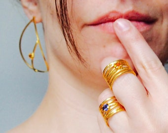 Gold plated Wave Ring with yellow citrine