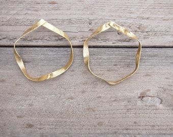 Large gold-plated ribbon hoop earrings