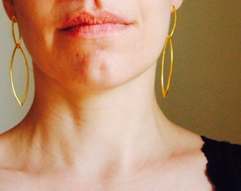 Gold plated silver rhombus earrings