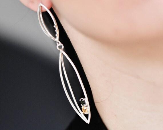 3d earrings with gemstones
